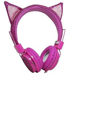 Headphone Com Fio Orelha Gato Com Glitter Pink