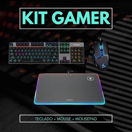 Kit Gamer Teclado Mouse e Mouse Pad Exbom e Philips