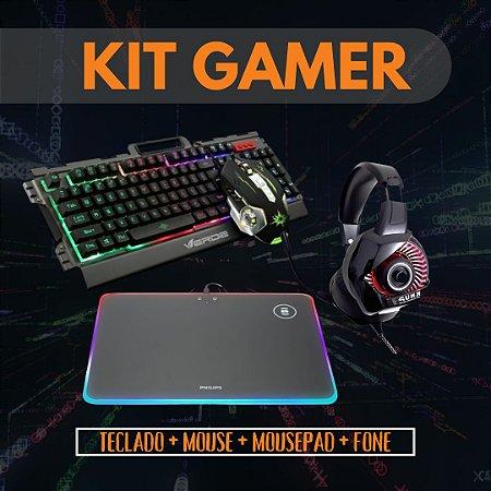 Kit Gamer Teclado e mouse Mouse pad e Headset KP-470 USB