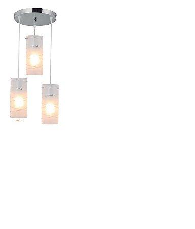Pendente First 3 Lâmpadas E27 Difusor Em Vidro Opalino