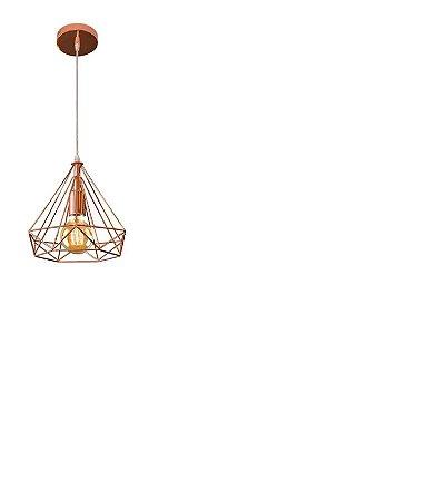 Lustre Pendente Tetra 25cm 1 Luz E27 Cobre Bronzearte