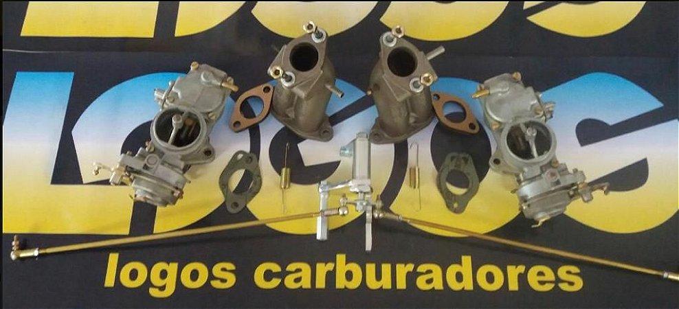 KIT FUSCA DUPLA CARBURAÇÃO COM ACIONAMENTO ROLETADO ORIGINAL SOLEX H32 GASOLINA