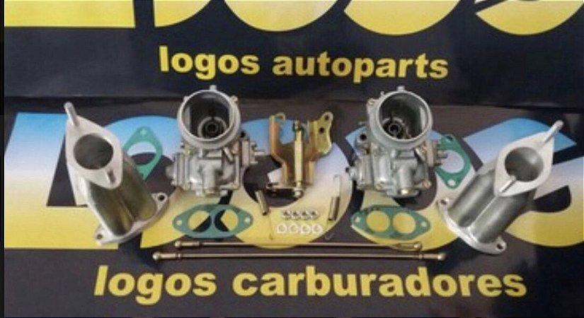 Kit Carburadores Solex 40 Puma Gasolina + Acionamento Comum