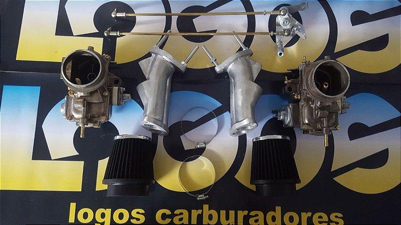Kit Solex 40 Fusca/Puma/Kombi Álcool com Acionamento Roletado + Filtros Esportivos