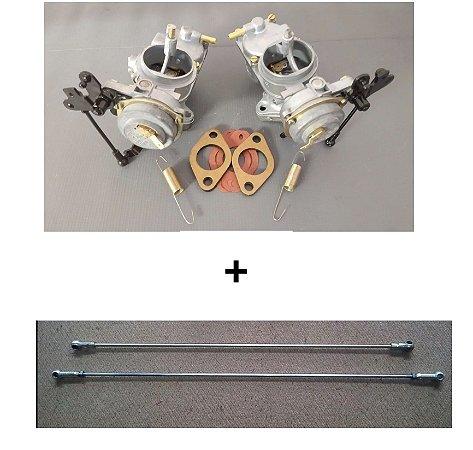 Carburador Duplo Variant (Par) 1600 Gasolina Original Solex + Varetas