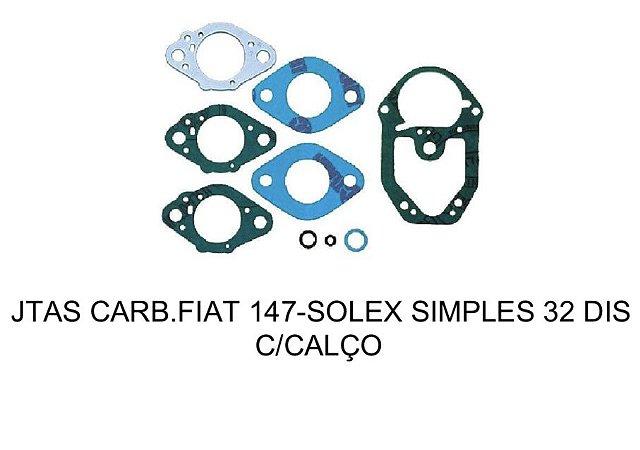JOGO DE JUNTAS CARBURADOR FIAT 147 SOLEX SIMPLES 32 DIS COM CALÇO