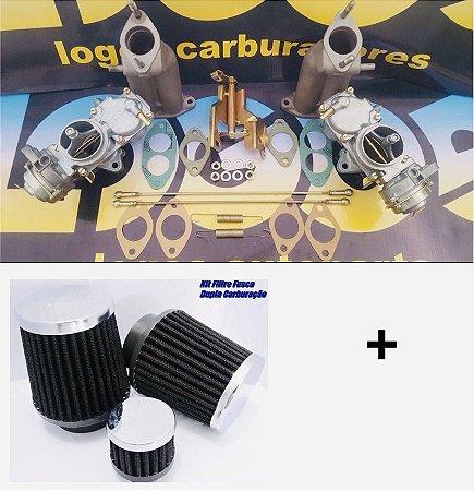Kit Carburador Fusca Itamar H32 Gasolina 1600 + Par de Filtros Esportivos e Respiro de Óleo