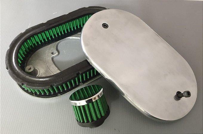 Filtro de Ar Esportivo Carburador 2e Cor Verde com Respiro