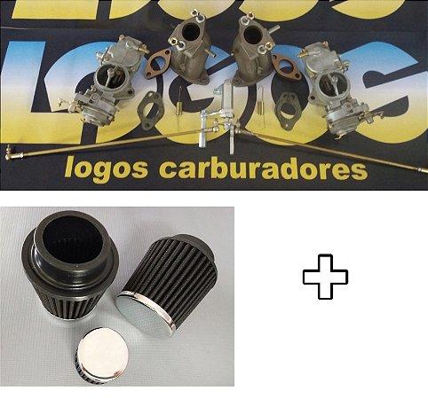 Kit Solex h32 Fusca 1600 Gasolina + Acionamento Roletado + Filtros Esportivos e Respiro de Óleo