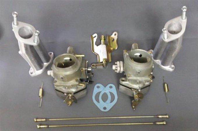 Solex 40/44 Deis Kit Completo Dupla Carburação Puma/Fusca 1600 Gasolina Com Acionamento Comum