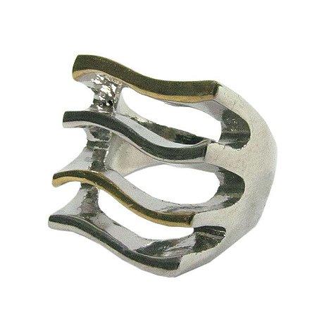 Anel com ondulações prata