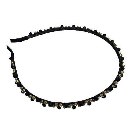 Tiara com strass preto e dourado