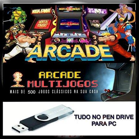 Multijogos + Pen Drive 16gb C/ + De 500 Games Arcade No Pc