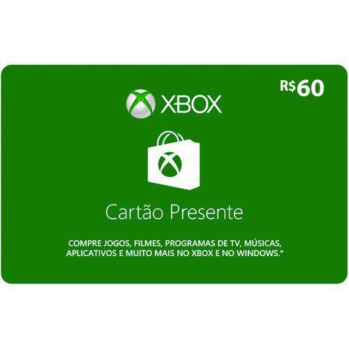 Cartão Presente Microsoft Gift Card Xbox R$60