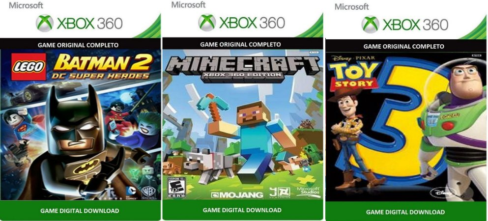 Combo Lego Batman 2 + Minecraft + Toy Story 3 Xbox 360 Game Digital Xbox Live