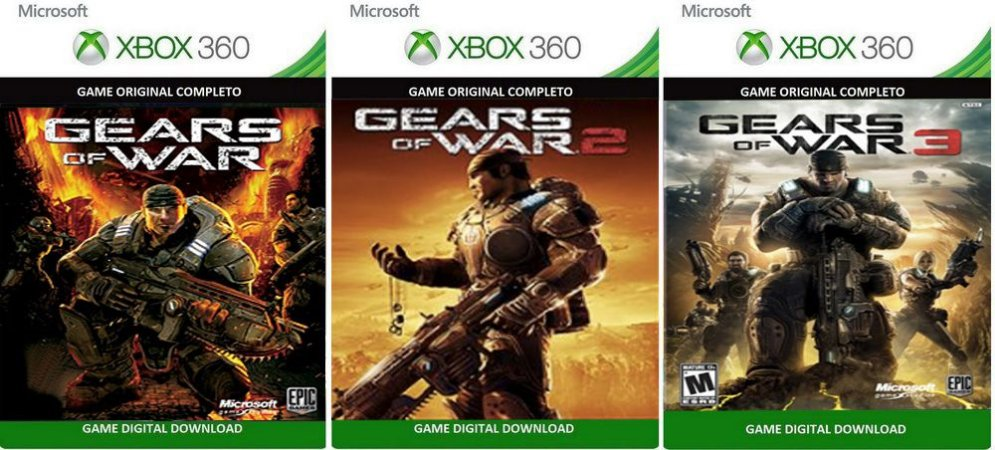 Gears of War 123 Trilogia Xbox 360 Game Digital Original Xbox Live
