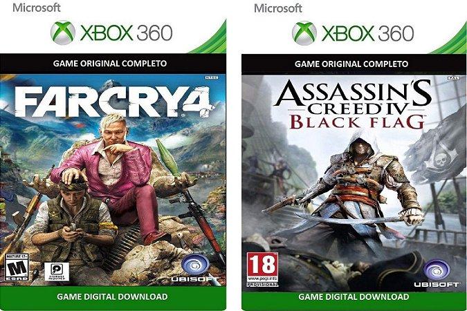 Far Cry 4 + Assassins Creed 4 Xbox 360 Jogo Digital Original Xbox Live