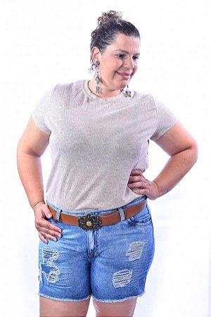 Shorts Feminino Plus Size Jeans com Cinto