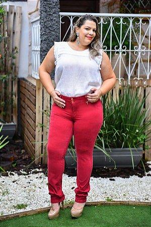 Calça Feminina Plus Size Sarja Vermelho