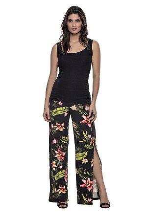 Calça Gestante Pantalona com Abertura - Estampada e Preta Lisa