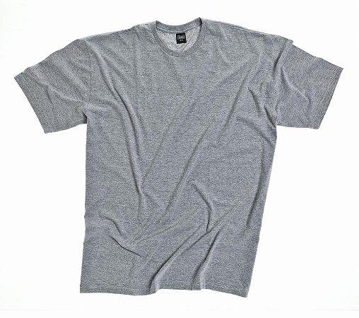 Camiseta Masculino Plus Size Gola Careca Lisa Cinza Mescla