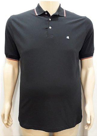 Camiseta Masculino Plus Size Polo Piquet Preto