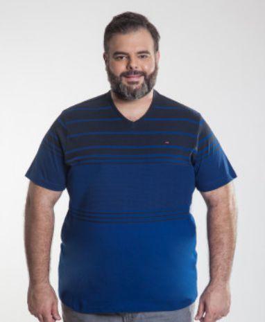 Camiseta Masculino Plus Size Gola V Burg