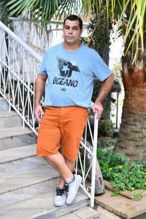 Bermuda Masculina Plus Size Sarja Bolso Faca Ferrugem