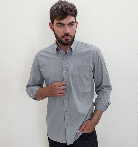 Camisa Masculina Plus Size Manga Longa Listrada Fio 50