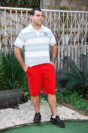 Bermuda Masculina Plus Size Sarja Bolso Faca Vermelho