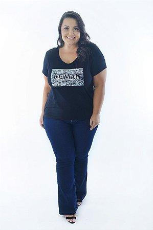 Blusa Feminina Plus Size Estampa Prateada Woman