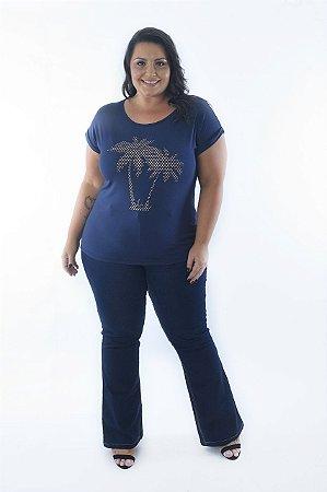 Blusa Feminina Plus Size Estampa Palm Tree