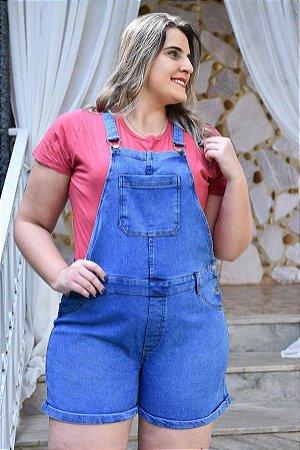 Macaquinho Plus Size Jeans com Elastano