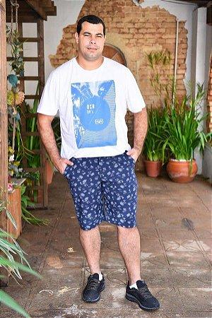 Bermuda Masculina Plus Size Sarja Estampada - Marinho
