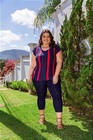 Blusa Feminina Plus Size Decote Canoa Listras