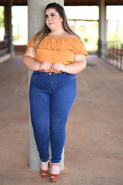 Calça Feminina Plus Size Skinny Cropped