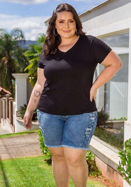 Blusa Feminina Plus Size Básica Lisa