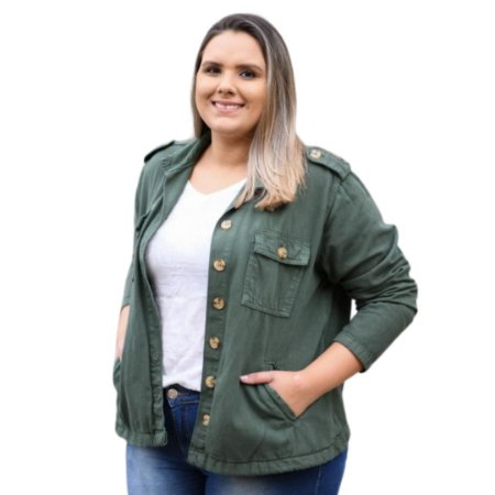 Jaqueta Feminina Plus Size Sarja