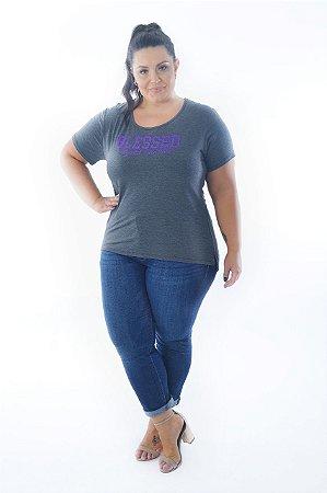 Blusa Feminina Plus Size Estampa Blessed