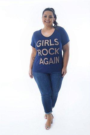 Blusa Feminina Plus Size Decote V com Estampa Girls