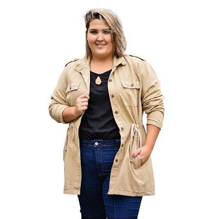 Jaqueta Feminina Plus Size Sarja - Parka