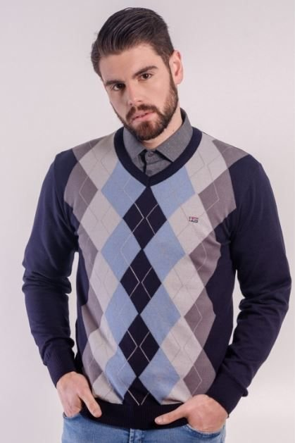 Suéter Masculino Plus Size Gola V