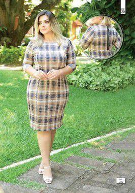 Vestido Plus Size Xadrez