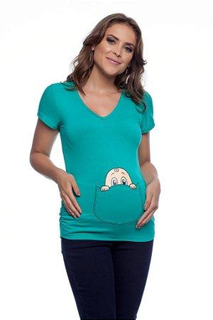 Blusa Gestante Bebê Bolso