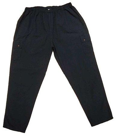 Calça Masculina Plus Size Sarja com Elástico e Bolso Cargo