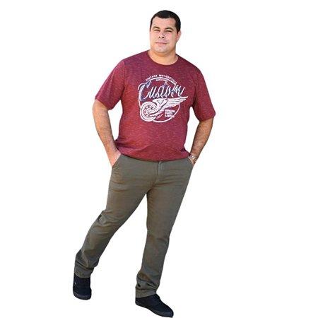 Calça Masculina Plus Size Sarja Bolso Faca