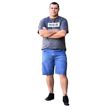 Bermuda Masculina Plus Size Jeans Bolso Cargo