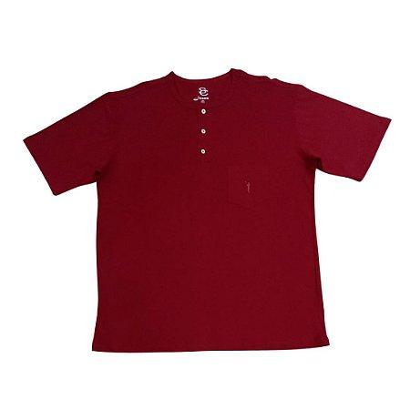 Camiseta Masculina Plus Size Gola Portuguesa