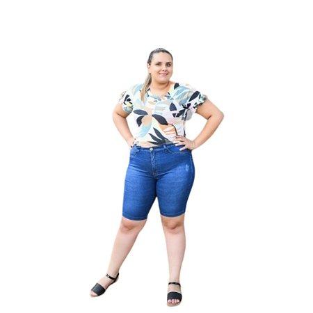 Bermuda Feminina Plus Size Jeans Ciclista
