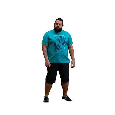Camiseta Masculina Plus Size Gola Careca Estampa